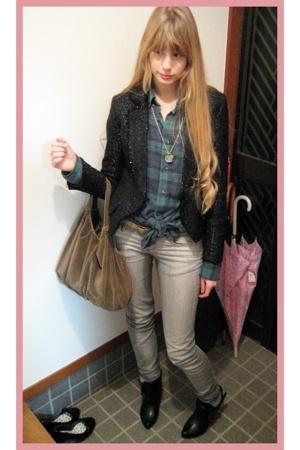 vintage blazer - vintage shirt - antique necklace - H&M pants - Muji purse - vin