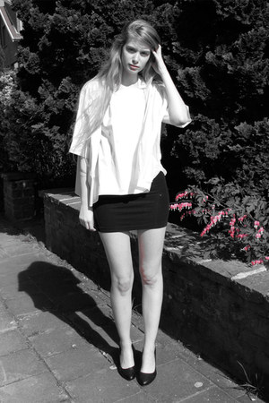 black American Apparel dress - white COS blouse - black vintage heels