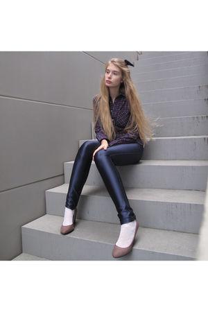 blue American Apparel shirt - blue American Apparel pants - purple Zara shoes