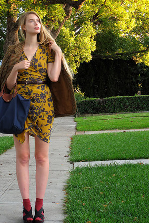 magenta American Apparel socks - mustard vintage dress