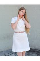 white vintage dress - pink American Apparel belt