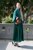 teal vintage blouse - brick red APC bag - teal American Apparel skirt