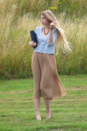 navy vintage bag - camel American Apparel skirt - periwinkle Zara cardigan