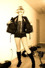 Black-corset-shirt-vintage-jacket