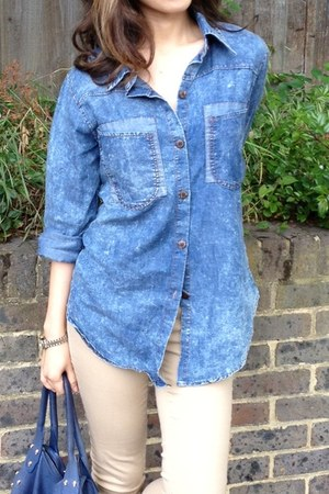 blue baggy denim myChickPea shirt