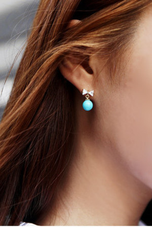 sky blue ribon myChickPea earrings