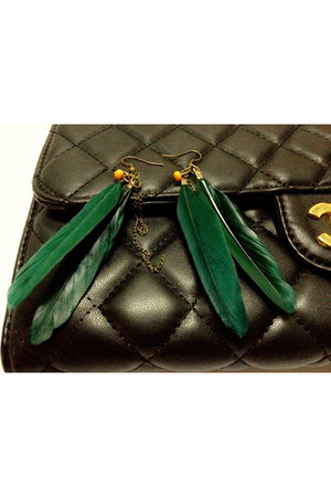 dark green feather myChickPea earrings