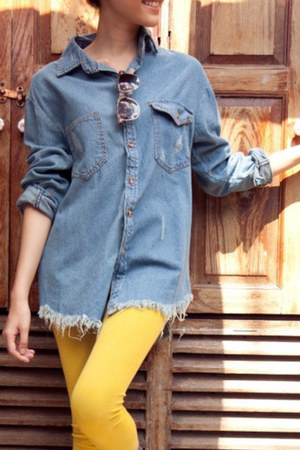 blue denim myChickPea shirt
