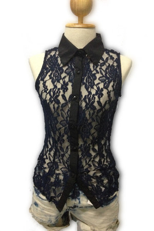 navy sleeveless lace myChickPea blouse