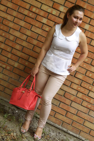 light pink new look jeans - salmon no brand bag - white Gloria Jeans blouse
