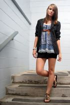 black Vanheusen blazer - blue American Eagle top - black skirt - brown shoes - b
