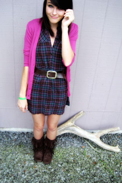 pink cardigan - purple dress - brown faded glory belt - brown miley cyrus max az