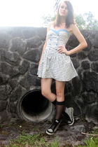 black stockings - black Vans shoes - blue dress - beige