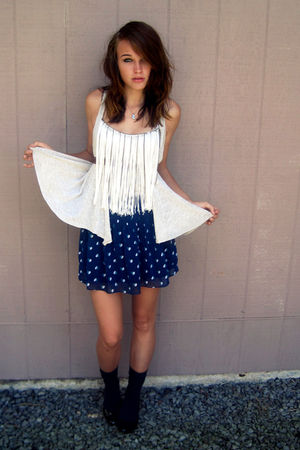 blue American Eagle skirt - black shoes - blue gifted socks - gray fringe top
