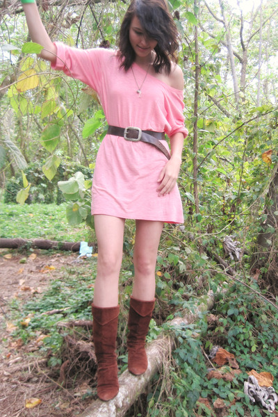 pink INC shirt - brown faded glory belt - silver made it myself necklace - brown