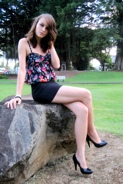 black Nine West shoes - black American Rag dress - black skirt