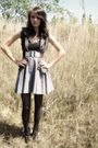 Black-american-eagle-top-gray-vest-black-belt-gray-skirt-black-target-ti