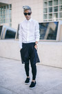 Black-loafers-steve-madden-shoes-white-white-eton-of-sweden-shirt