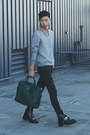 Black-cut-out-balenciaga-boots-teal-paisley-ted-baker-bag