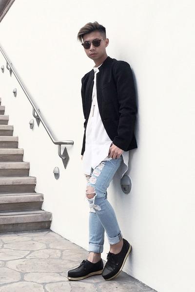 black platform Valas shoes - light blue shredded asos jeans