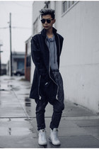 dark gray edgy Scrapes and Gravel jacket - white sneakers LHommeDeMaison shoes