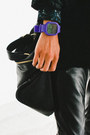 Purple-interchangeable-modify-watches-watch-black-oak-jacket
