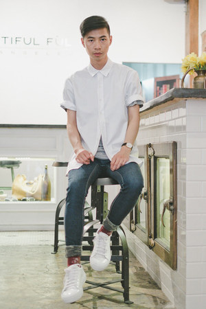heather gray grey Beautiful Ful shirt - white white shirt Beautiful Ful shirt