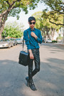 Teal-matthew-williamson-x-h-m-shirt-black-trussardi-bag