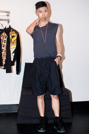 charcoal gray tank top Damir Doma shirt - black sneakers Alejandro Ingelmo shoes