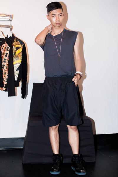 charcoal gray tank top Damir Doma shirt - black sneakers Alejandro Ingelmo shoes
