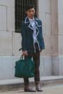 Dark-brown-studded-prada-shoes-navy-trench-coat-topman-coat