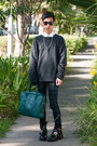 Black-balenciaga-boots-black-acne-sweater-teal-ted-baker-bag