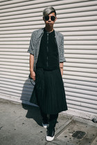 black pleated skirt Yesstyle skirt - black sneakers PF Flyers shoes
