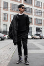 Black-yohji-yamamoto-boots-black-military-jacket-army-authentic-apparal-jacket