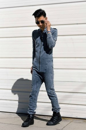 black black Adidas sneakers - blue jumpsuit One Piece jumper