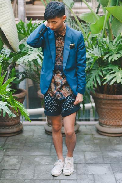 navy Zara shirt - blue Yesstyle blazer - navy Zara shorts