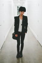 black All Saints boots - black obey hat - black Balmain blazer