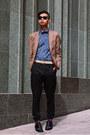 Black-suede-alexander-wang-shoes-tan-blazer-yesstyle-blazer-blue-eton-shirt
