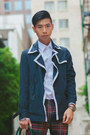 Dark-brown-studded-prada-shoes-navy-trench-coat-topman-coat