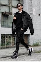 black Yohji Yamamoto boots - black military jacket Army Authentic Apparal jacket