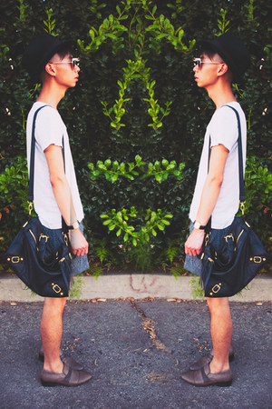 white Zara t-shirt - black Topman hat - black Nila Anthony bag