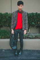 teal Zara shoes - black Cult of Individuality jeans - red Zara sweater