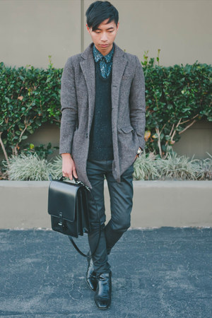 black Giorgio Brutini boots - brown Zara coat - black ben sherman sweater