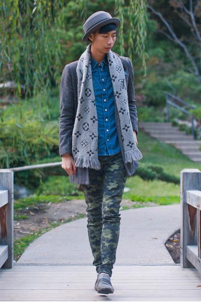 heather gray Louis Vuitton scarf - dark brown tweed Zara coat