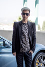 Black-black-balmain-blazer-white-leopard-print-boohoo-shirt