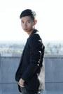 Black-cutout-balenciaga-boots-black-wool-balmain-blazer