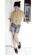 Mango shorts - monk shoes - Secondhand top