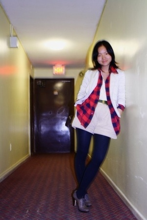 thrifted shirt - thrifted jacket - thrifted shirt - thrifted belt - Gap shorts -