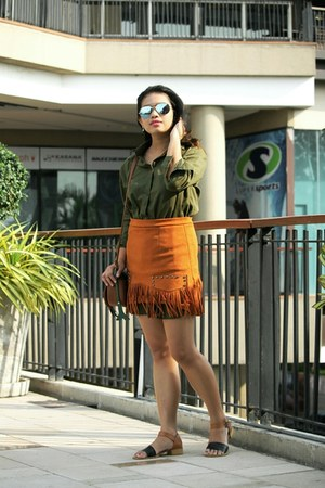 burnt orange Zalora TH skirt - army green top - dark brown Zalora TH sandals