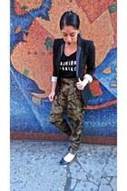 blazer Express blazer - olive green harem pants Zara pants - Mango t-shirt